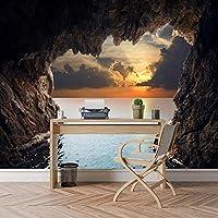 Xbwy カスタム3D写真壁紙壁画ロール壁紙家の装飾アート用リビングルームの壁紙海の洞窟日没海景テレビ寝室-250X175Cm
