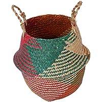 B Baosity 折り畳み可能 ハンド 織り ラタン籐 バスケット ガーデン 花瓶 ポットホルダー 全3種 - 1