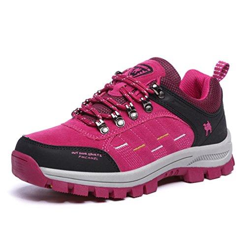 登山靴 男女兼用 トレッキングシューズ ハイキングシューズ 防滑 アウトドアスニーカー 5色の選択可 ローズレッド JP230