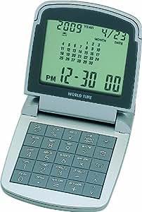 ADESSO(アデッソ) デジタル目覚まし時計 ワールドタイムトラベルクロック 電卓付き シルバー AQ-706