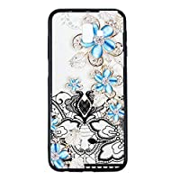 MGVV Galaxy J6 Plus ケース for Women, ケース キズ防止 高級感 カバー シンプル 取り出し易い ケース Compatible with for Samsung Galaxy J6 Plus Blue Rose