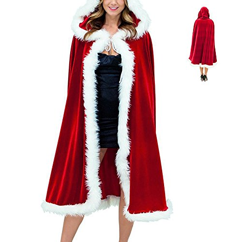 クリスマス サンタクロース 衣装 マント レッド コスチュー...