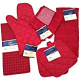 Kitchen Towel Set with 2 Quilted Pot Holders, Oven Mitt, Dish Towel, Dish Drying Mat, 2 Microfiber Scrubbing Dishcloths (Red)
