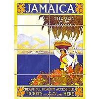 パネルアートプリント旅行ジャマイカGem Tropics Caribbean Steamshipヴィンテージ古い広告複製ポスターoz4250