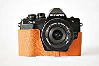 OLYMPUS オリンパス EM10II 用本革カメラケース &バッテリーケース付ストラップ 各種カラー (カメラケース &バッテリーケース付ストラップ, オレンジ)