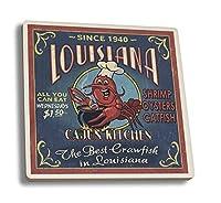 ルイジアナ州–CajunキッチンCrawfish Vintage Sign Ceramic Coaster Set LANT-44617-CT