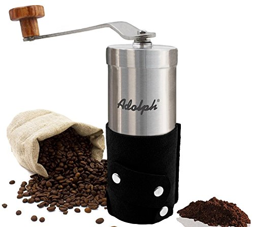 手挽きコーヒーミル 手動コーヒーミル セラミックカッター ミニコーヒーミル ステンレス 粒度調節可能 解体可能 洗いやすい コンパクト