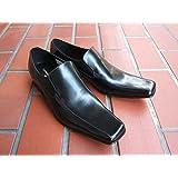 キャサリンハムネット KATHARINE HAMNETT 紳士靴 ビジネスシューズ ロングノーズ ヴァンプスリッポン 本革[ブラック]3946