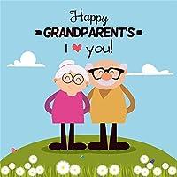 ofila Happy敬老の日Backdrop 7x 7ft敬老の日写真背景漫画写真花Grass Land Retirement Love敬老の休日Celebration撮影小道具