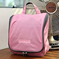 EVSTATravel Cosmetic Storage Folding Hanging Toiletry Wash Organizer Pouch Makeup Bag Pink ★ Portable Pruse Ladies M.