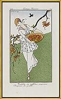 フレーム George Barbier ジクレープリント キャンバス 印刷 複製画 絵画 ポスター(プリント衣装と麦わら帽子) #XLK