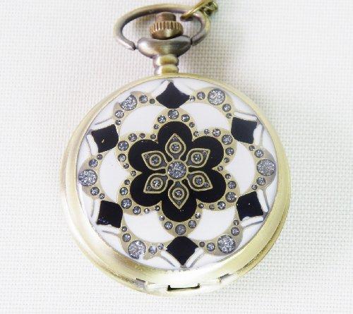[해외]리틀 매직 로마 숫자 검은 회중 시계 남성 아날로그 [가죽 끈 목걸이 체인 벨트 체인] .../Little Magic Roman Numerals Black Pocket Watch Men`s Analog [Leather Strap Necklace Chain Belt Chain] ...