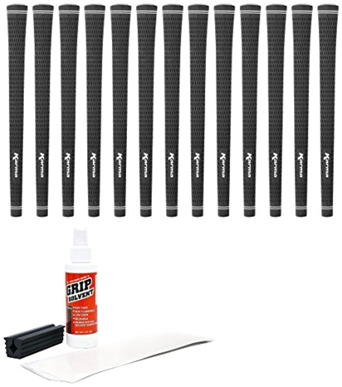 Karma Ribbed Golf Grip Kit with Tape & Solvent Vise Clamp (13 Piece) White Velvet [並行輸入品]