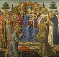 Oil painting 'ベノッツォ・ゴッツォーリ–The Virgin and Child Enthroned Among Angels And Saints、1461–2'印刷高品質ポリエステルキャンバスに、16x 17インチ/ 41x 42cm、最高のガレージアートワークとホームデコレーションとギフトはこの高定義アート装飾プリントキャンバス