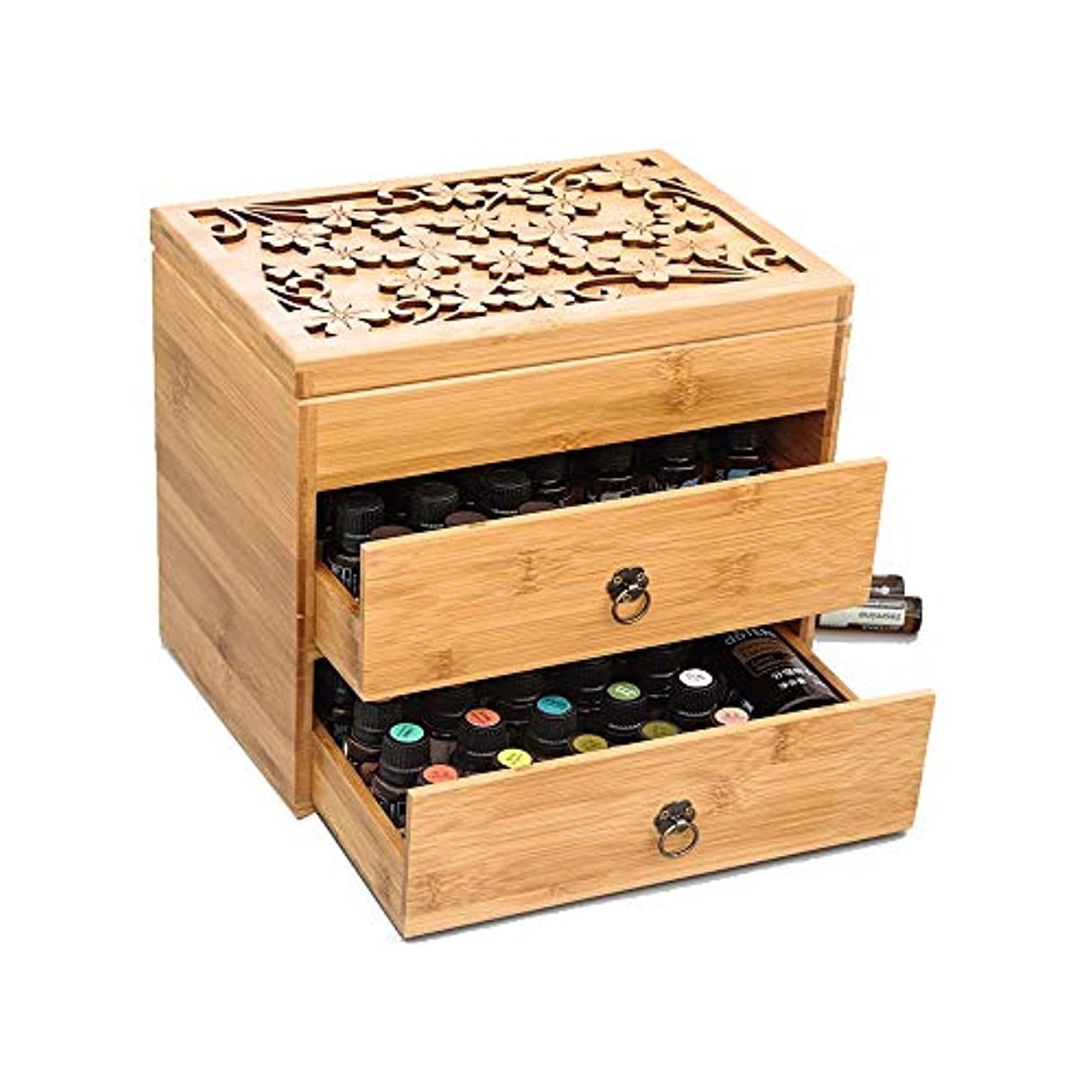 寂しいジムコジオスコ3ティアエッセンシャルオイルボックス木製収納ケースは、エレガントな装飾的なデザインでは5、10&15ミリリットルボトルを保護します アロマセラピー製品 (色 : Natural, サイズ : 26X18X24.5CM)
