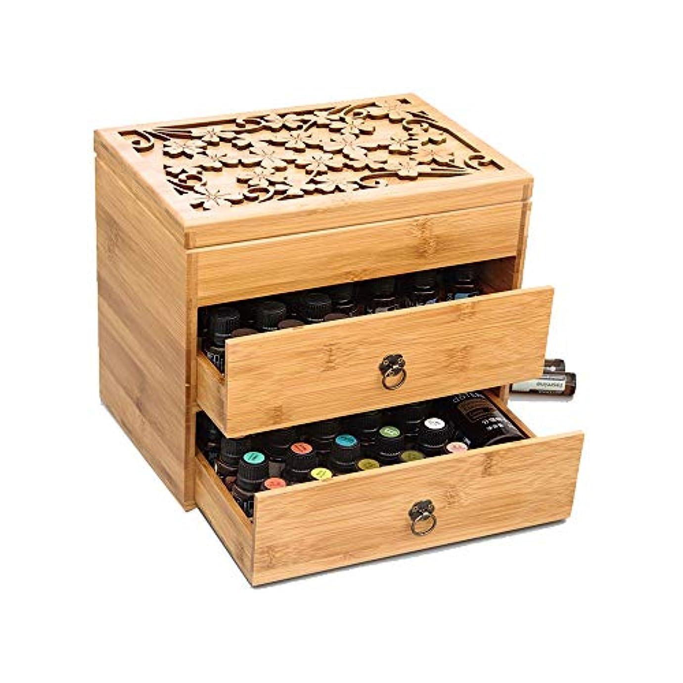 精油ケース 3ティアエッセンシャルオイルボックスケースは、エレガントな装飾的なデザインでは5、10&15ミリリットルボトル木製収納を保護します 携帯便利 (色 : Natural, サイズ : 26X18X24.5CM)
