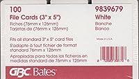 GBC BATES 3x 5の交換用カードRolodex。ホワイト、Unruled。3x 5。100のパック。
