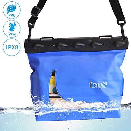 Mercs Tteoobl 防水バッグ 防水ケース プールバッグ Lサイズ ショルダーバッグ IPX8 海水浴 川遊び プール トラベル アウトドア 防災 必需品 ブルー