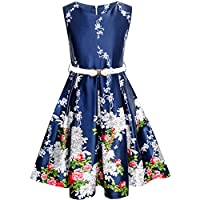 Girls Dress Navy Blue Flower Belt Vintage Party Sundress Size 6-14 Years
