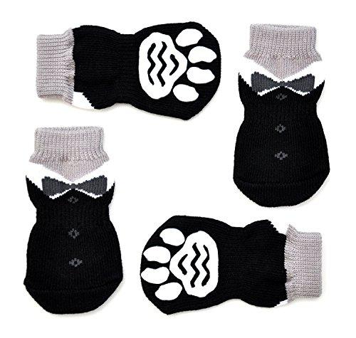 SHANs ペット用靴下 犬の靴下 犬用靴下 柔らかく軽く履きやすい 滑り止め 肉球保護 小型犬適用 (4個セット)