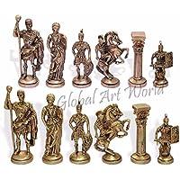 グローバルアートWorld Greatホーム装飾スタイリッシュな古代インドの手作りアンティークCollectibleソリッド真鍮セットチェスのFigurines /チェスセットゲームCB 02