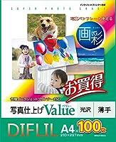 DIFLIL A4サイズ光沢写真用紙 100枚入り インクジェットプリンター用紙