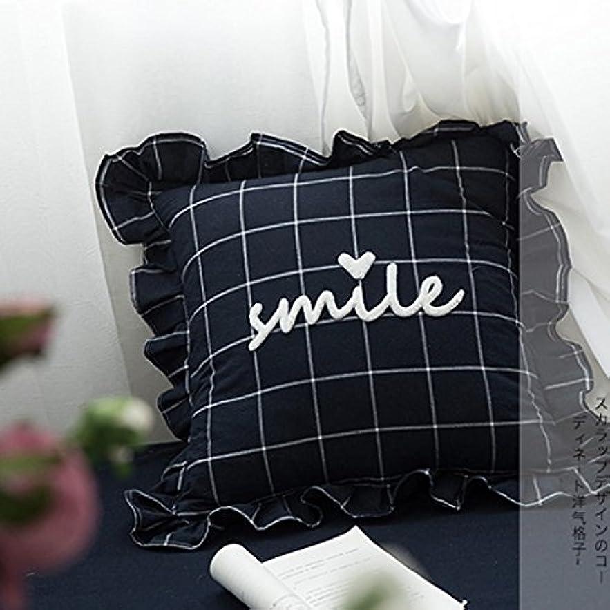 ソーシャル設計図こどもの日ソファーベッドの家の装飾のための古典的な格子縞の正方形の枕クッション - 青