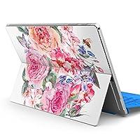 Surface pro6 pro2017 pro4 専用スキンシール サーフェス ノートブック ノートパソコン カバー ケース フィルム ステッカー アクセサリー 保護 花 花柄 水彩 013495
