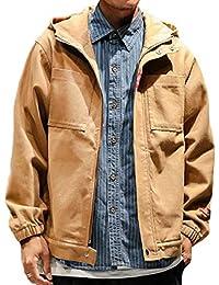 gawaga メンズファッションフルジップフードプラスサイズ緩いロングスリーブジャケットアウトウェア