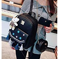 ZHANGYOUDE 3 in 1 Plum Embroidery Tassels PU Leather Double Shoulders School Bag Travel Backpackage Bag with Bear Doll Pendant (Black) (Color : Black)