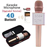 Q9 [Upgraded Version] Wireless Microphone with Speaker Karaoke Pro, 3-in-1 2200mAh Bluetooth Aluminium Alloy Karaoke Machine KTV for Apple iPhone Android Smartphone or Pc (RoseGold)