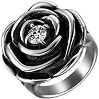 JewelryWe アンティーク レディース 指輪 リング ローズ薔薇 ステンレス指輪 カジュアル ファション キラキラ 12号