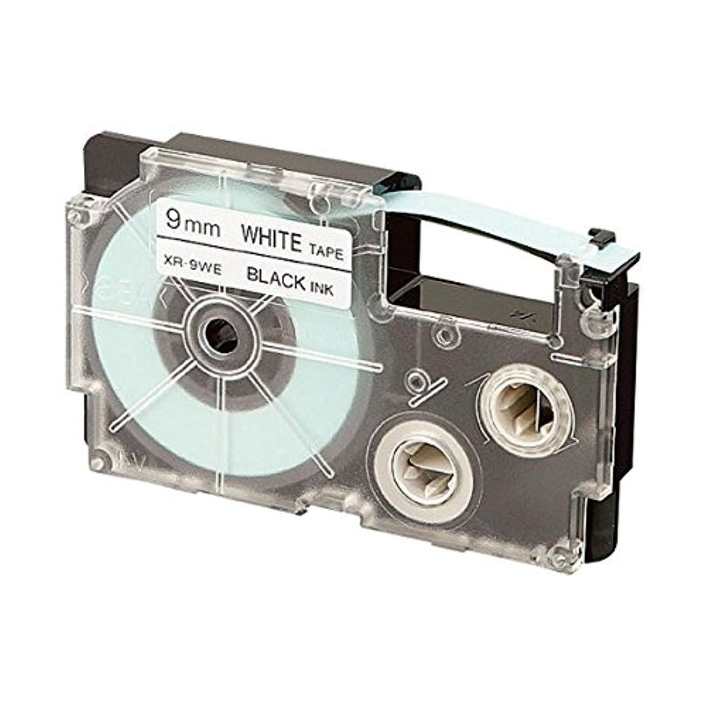 矩形遊具爆風カシオ計算機 テープ 白に黒文字 XR-12WE 12mm 10本