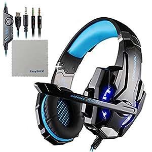 EasySMX PS4用 ゲーム用ヘッドセット 高音質 マイク付き ステレオ ゲーミング ヘッドホン LED照明 重低音 騒音隔離 音量調節機能付き PC/パソコン/タブレット/スマホ対応 (ブラック+ ブルー)