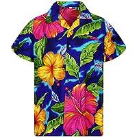 V.H.O Funky Hawaiian Shirt Men Short Sleeve Front-Pocket Big Flower Multiple Colors