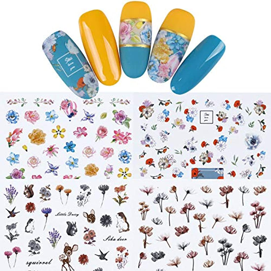 脊椎起業家増加するFidgetGear 12枚の花3Dネイルアートステッカー接着剤転写のヒントマニキュア装飾