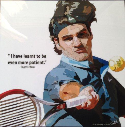 ロジャー・フェデラー 海外製 テニスグラフィックアートパネル 木製ポスター インテリア