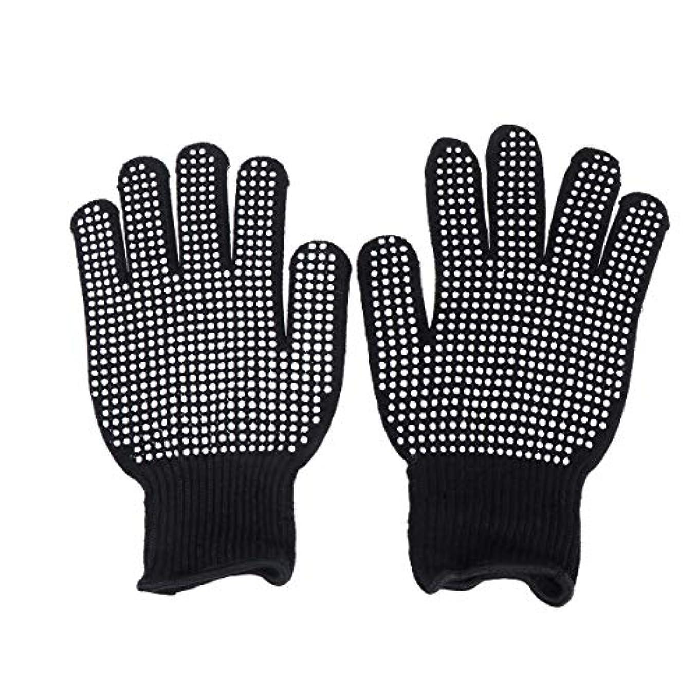 つかむタフ食用Beaupretty 耐熱手袋ヘアスタイリング用オーブン手袋カール防止用ヒートブロック(ブラック)