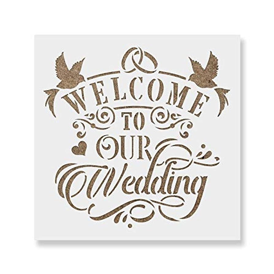 曲げる世界に死んだヘビー(20cm x 20cm) - Welcome to Our Wedding Stencil Template for Walls and Crafts - Reusable Stencils for Painting in Small & Large Sizes