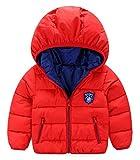 (トヨベイ)Toyobuy 子供 中綿 コート キッズ フード付き ジャケット ベビー ブルゾン アウター 女の子 男の子 冬 レッド 90