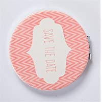 HuaQingPiJu-JP ミニラウンド日付を保存するレターパターンガラス鏡サークル工芸装飾化粧品アクセサリー