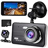 ドライブレコーダー前後カメラ32GB SDカード付き 4.0インチ1080PフルHD高画質車載カメラデュアルドライブレコーダー2カメラ同時録画対応 170°広視野角G-sensorWDR衝撃録画/駐車監視/ループ録画/動体検知