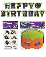 Teenage Mutant Ninja Turtle Birthday Party Supplies for 16 - 16 Masks 48 Tattoos One Birthday Banner [並行輸入品]