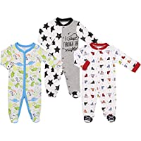 Mini B. by Baby Starters 3-Pack Sleep and Play Layette Set (Multi Color, Boy Prints, 6-9M)