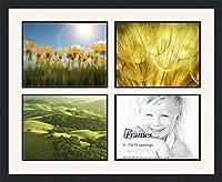 ArtToFrames アルファベット写真画像フレーム  11x14 インチ 4窓 サテンブラックフレーム 4 - 10x13 ホワイト Double-Multimat-1600-65/89-FRBW26079