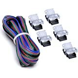 RGB LED Strip Connector Kit 4 Pin with Extension Wire UL Listed 9.8 Feet/3 Meter 22 Gauge 4 Conductor, DIY Both Strip to Power Lead and Strip to Strip Jumper, Non-Waterproof Use. Pack of 5