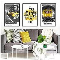 黄色の車北欧ポスター夜の風景絵画壁アートキャンバスプリントHD写真ホームデコレーション用リビングルームアートワーク-60x80cmx3pcs(フレームなし)