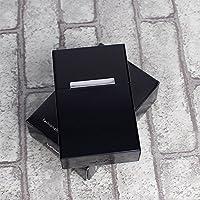 Liebeye シガレットケース アルミニウム製 煙草 ケース タバコ収納 20本入れ 薄型 軽量 ファッション クリエイティブ 超薄型 シガレットケース 金属 タバコボックス シガレットホルダー メンズ ブラック