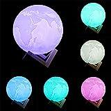 ベッドサイドランプ 地球のライト 3D地球のランプ USB充電式 16色明るさ 切替えナイトライト タッチスイッチ調光 リモコン付き USB充電式 デスクライト  360度回転 夜間ライト 卓上スタンド (10cm)