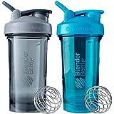 BlenderBottle Pro Series Shaker Bottle BlenderBall Rounded Base with SpoutGuard, 24 Ounce, 2-Pack (Grey - Blue)